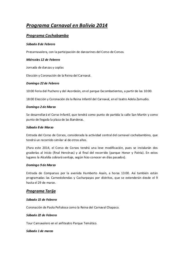 Programa de actividades carnavaleras 2014