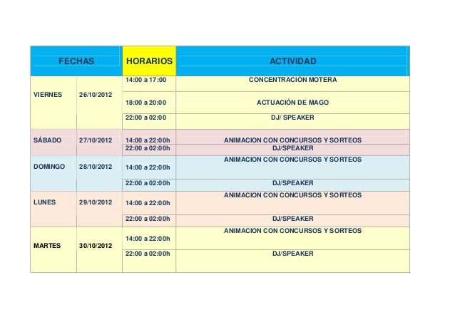 Programa de actividades del oktoberfest cartagena 2012