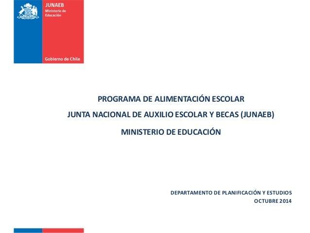 PROGRAMA DE ALIMENTACIÓN ESCOLAR JUNTA NACIONAL DE AUXILIO ESCOLAR Y BECAS (JUNAEB) MINISTERIO DE EDUCACIÓN DEPARTAMENTO D...
