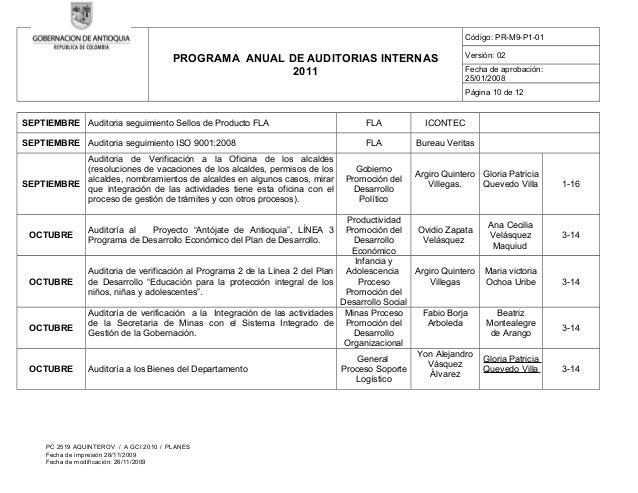 Plan de Auditoria Interna Auditorias Internas 2011
