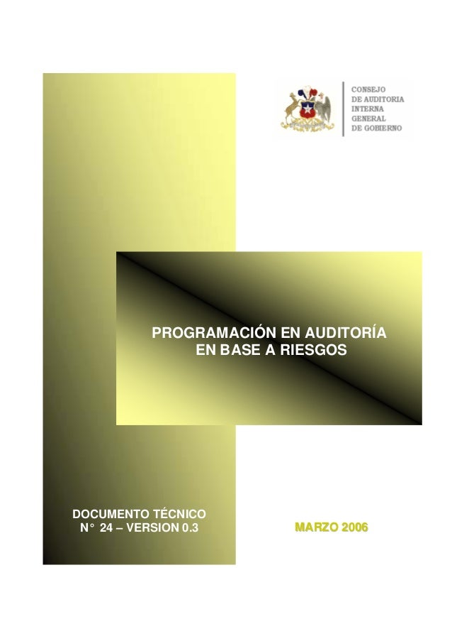 PROGRAMACIÓN EN AUDITORÍA EN BASE A RIESGOS MMAARRZZOO 22000066 DOCUMENTO TÉCNICO N° 24 – VERSION 0.3 PROGRAMACIÓN EN AUDI...
