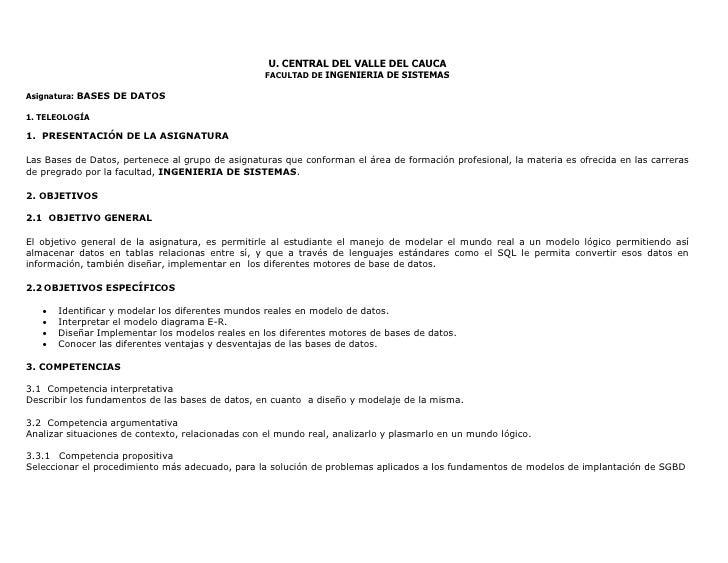 U. CENTRAL DEL VALLE DEL CAUCA                                                    FACULTAD DE INGENIERIA DE SISTEMAS  Asig...