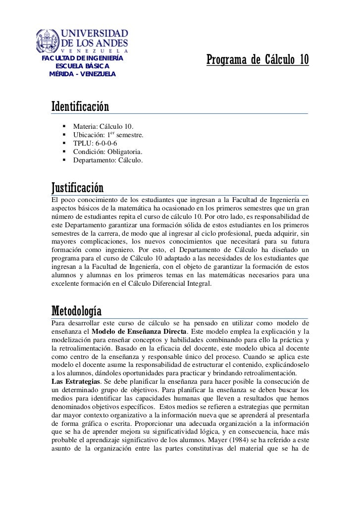 FACULTAD DE INGENIERÍA   ESCUELA BÁSICA                                                        Programa de Cálculo 10  MÉR...