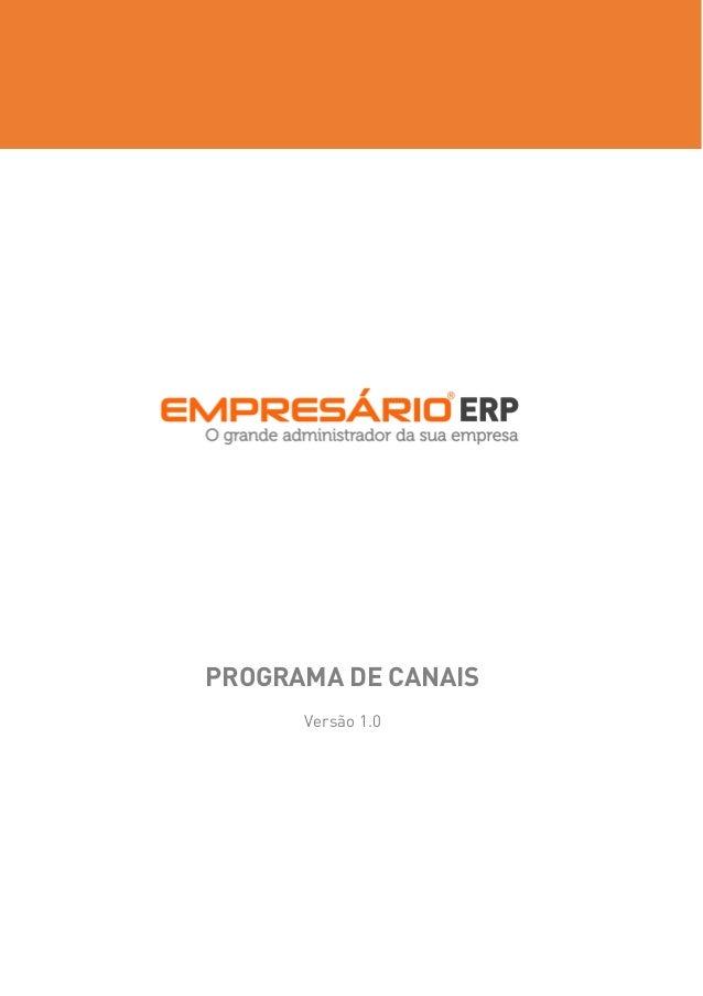 PROGRAMA DE CANAIS  Versão 1.0