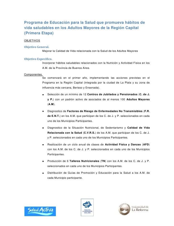 Programa de Educación para la Salud que promueva hábitos de vida saludables en los Adultos Mayores de la Región Capital (P...