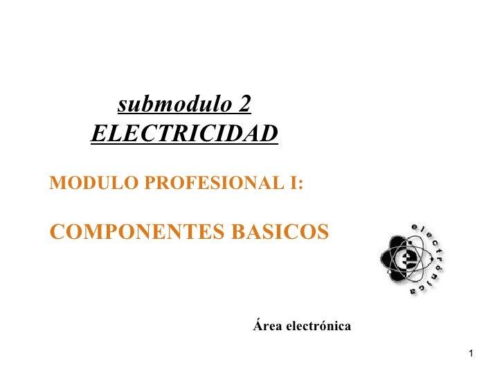 submodulo 2 ELECTRICIDAD MODULO PROFESIONAL I:  COMPONENTES BASICOS Área electrónica
