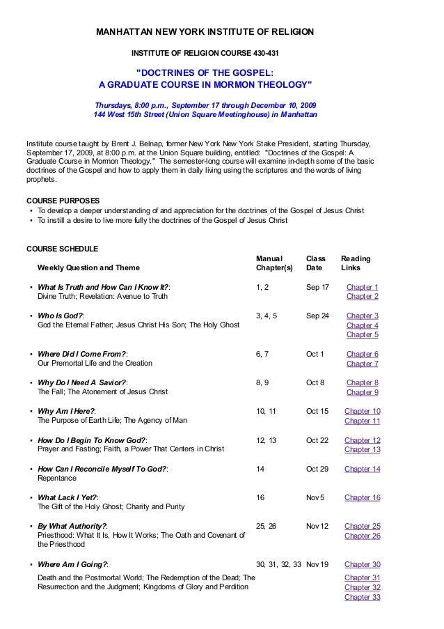 MANHATTAN NEW YORK INSTITUTE OF RELIGION                                INSTITUTE OF RELIGION COURSE 430-431              ...