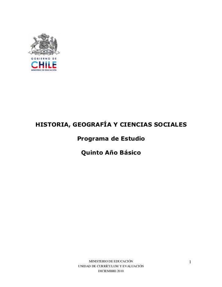 """!"""" #     MINISTERIO DE EDUCACIÓN        1UNIDAD DE CURRÍCULUM Y EVALUACIÓN           DICIEMBRE 2010"""