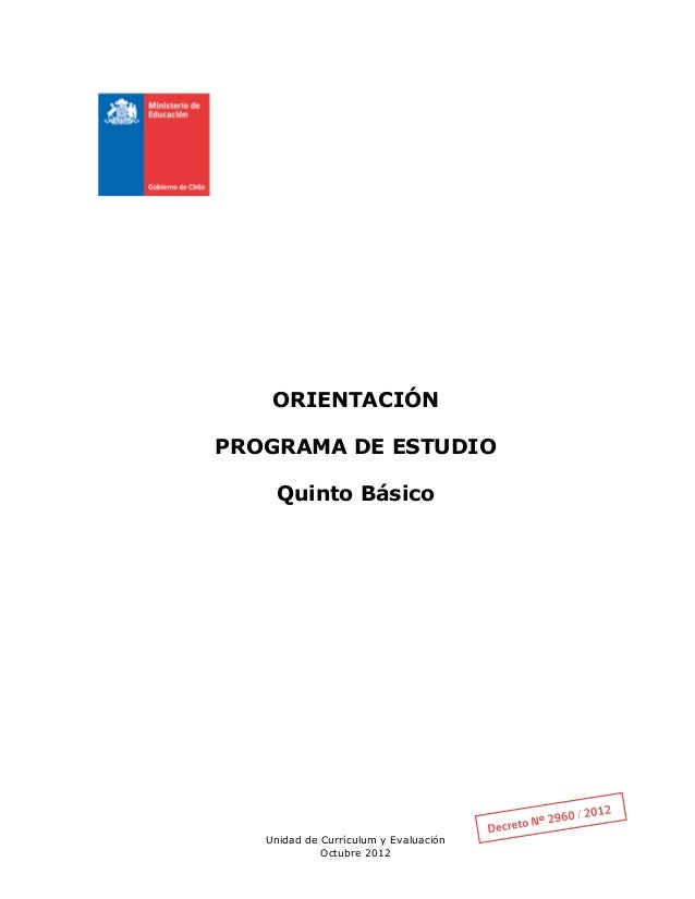 Programa De Estudio Orientacion 5 Basico