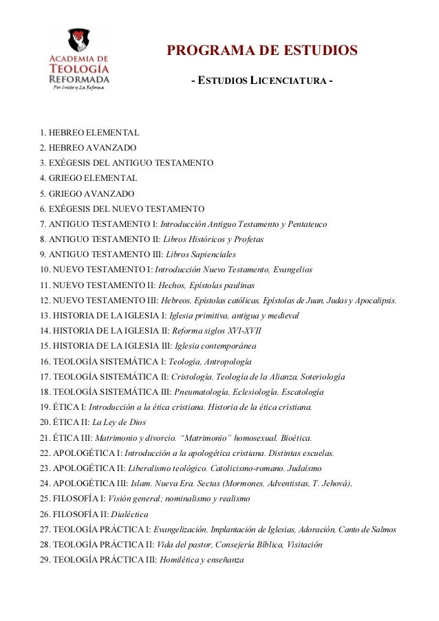 PROGRAMA DE ESTUDIOS                                           - ESTUDIOS LICENCIATURA -1. HEBREO ELEMENTAL2. HEBREO AVANZ...