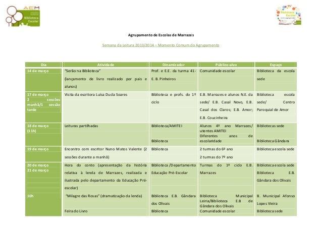 Agrupamento de Escolas de Marrazes Semana da Leitura 2013/2014 – Momento Comum do Agrupamento  Dia 14 de março  Atividade ...