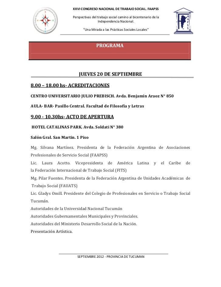 XXVI CONGRESO NACIONAL DE TRABAJO SOCIAL. FAAPSS                          Perspectivas del trabajo social camino al bicent...
