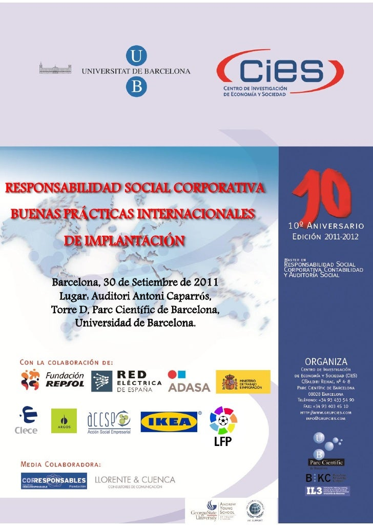 RESPONSABILIDAD SOCIAL CORPORATIVABUENAS PRÁCTICAS INTERNACIONALES        DE IMPLANTACIÓN      Barcelona, 30 de Setiembre ...