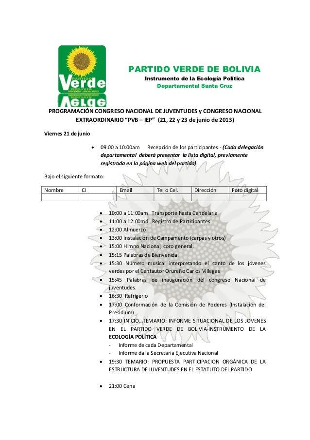 """PROGRAMACIÓN CONGRESO NACIONAL DE JUVENTUDES y CONGRESO NACIONAL EXTRAORDINARIO """"PVB – IEP"""" (21, 22 y 23 de junio de 2013)..."""