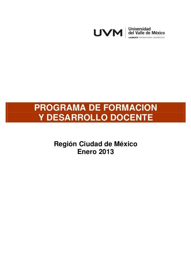 Programa de formación y desarrollo docente enero2013