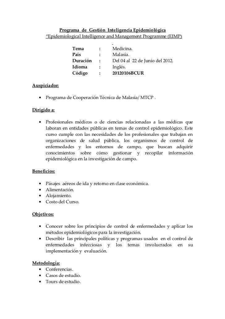 "Programa de Gestión Inteligencia Epidemiológica       ""Epidemiological Intelligence and Management Programme (EIMP)       ..."