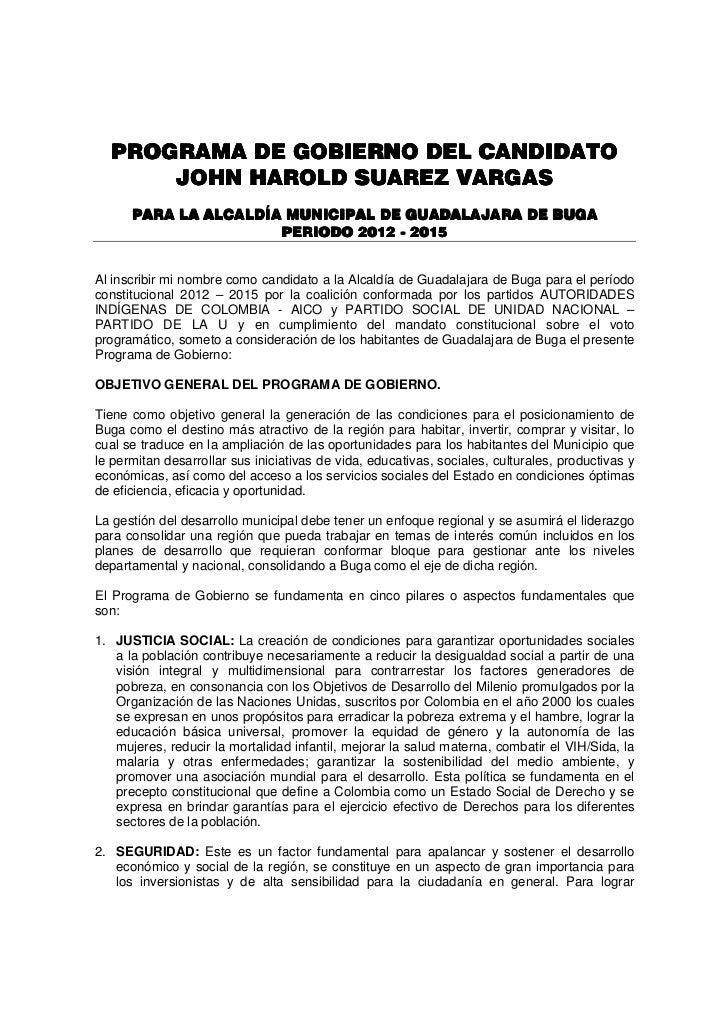 PROGRAMA DE GOBIERNO DEL CANDIDATO      JOHN HAROLD SUAREZ VARGAS      PARA LA ALCALDÍA MUNICIPAL DE GUADALAJARA DE BUGA  ...
