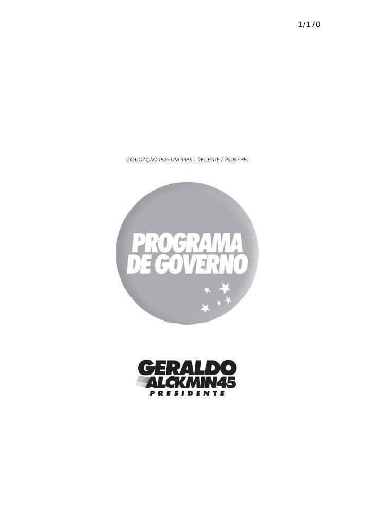Programa De Governo Alckmin Presidente 2006