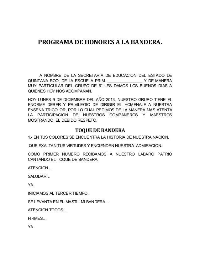 PROGRAMA DE HONORES A LA BANDERA. A NOMBRE DE LA SECRETARIA DE