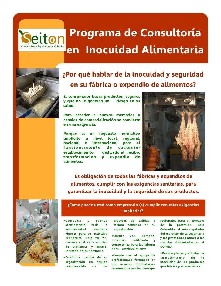 Programa de Consultoría  en Inocuidad Alimentaria¿Por qué hablar de la inocuidad y seguridad     en su fábrica o expendio ...