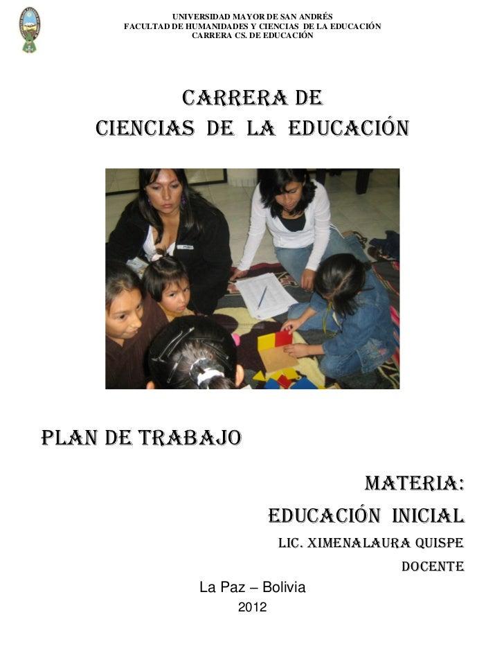 UNIVERSIDAD MAYOR DE SAN ANDRÉS      FACULTAD DE HUMANIDADES Y CIENCIAS DE LA EDUCACIÓN                   CARRERA CS. DE E...