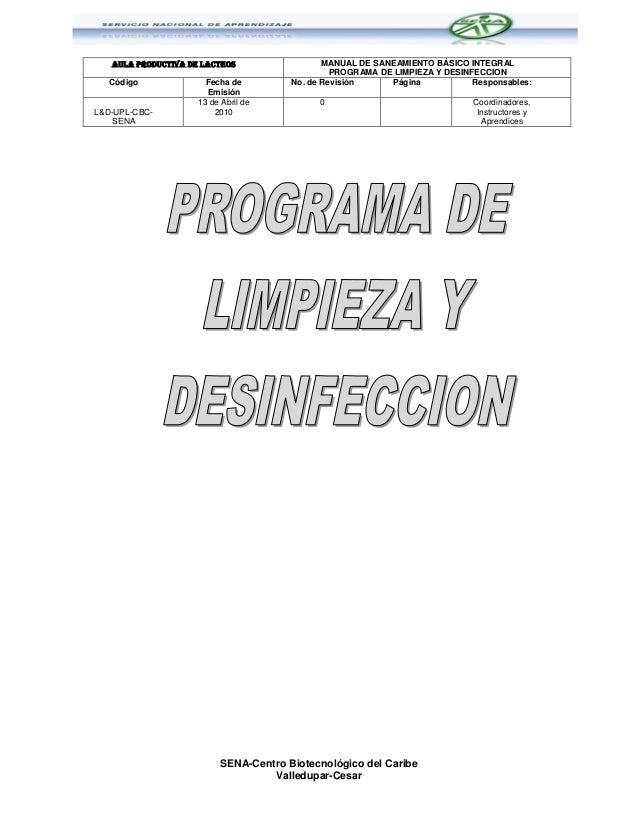 Programa de limpieza y desinfeccion sena cbc