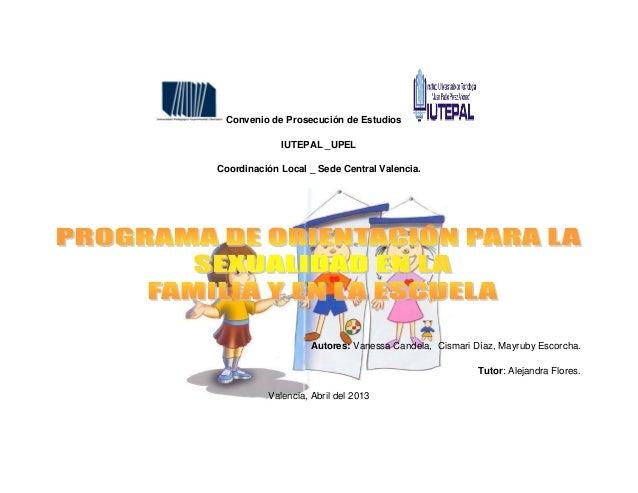Programa de orientación para la  sexualidad en la familia y en la escuela