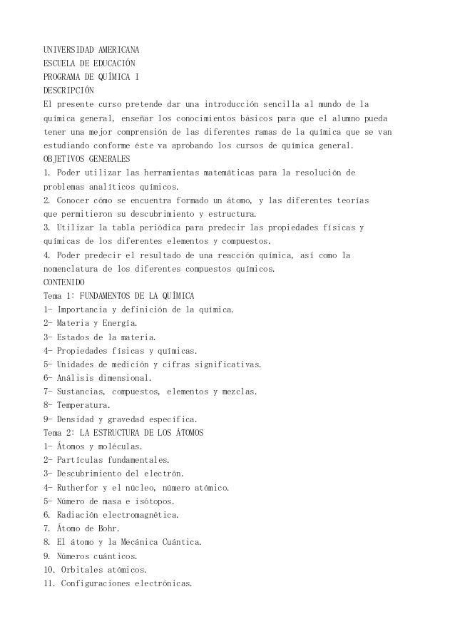 UNIVERSIDAD AMERICANAESCUELA DE EDUCACIÓNPROGRAMA DE QUÍMICA IDESCRIPCIÓNEl presente curso pretende dar una introducción s...