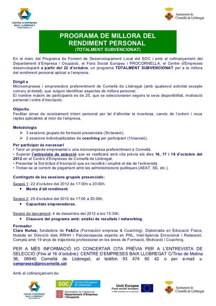 PROGRAMA DE MILLORA DEL                             RENDIMENT PERSONAL                                  (TOTALMENT SUBVENC...