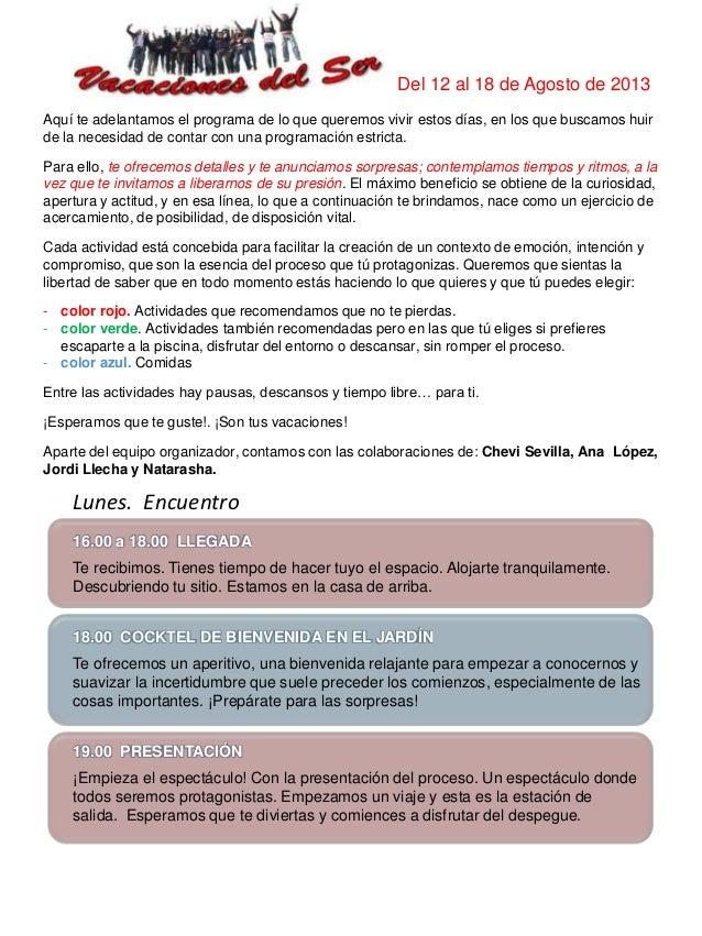Programa detallado 2013