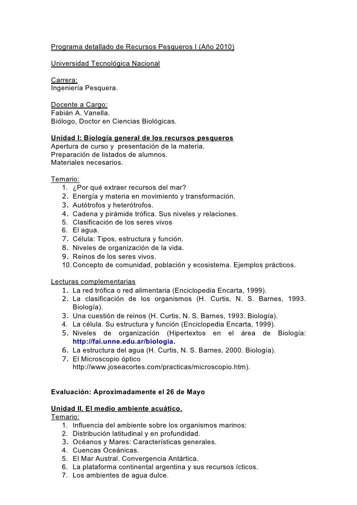 Programa detallado de recursos pesqueros i (2010)