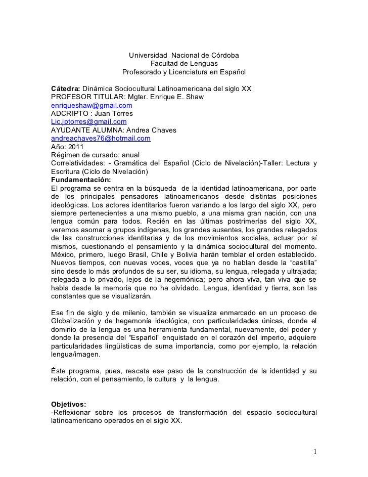 Universidad Nacional de Córdoba                              Facultad de Lenguas                      Profesorado y Licenc...