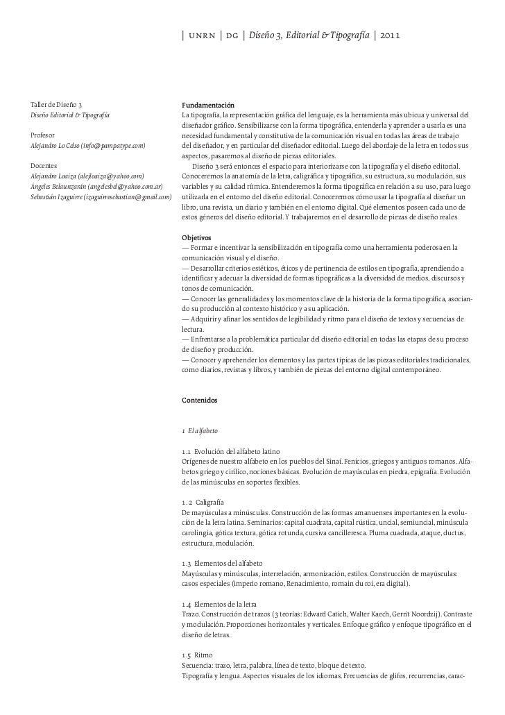   unrn   dg   Diseño 3, Editorial & Tipografía   2011Taller de Diseño 3                                   FundamentaciónDi...