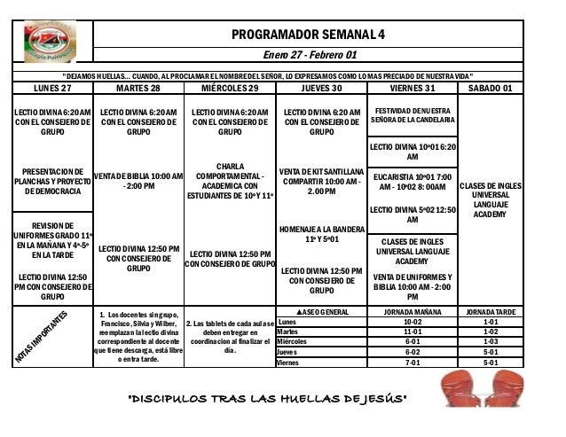 """PROGRAMADOR SEMANAL 4 Enero 27 - Febrero 01 """"DEJAMOS HUELLAS… CUANDO, AL PROCLAMAR EL NOMBRE DEL SEÑOR, LO EXPRESAMOS COMO..."""