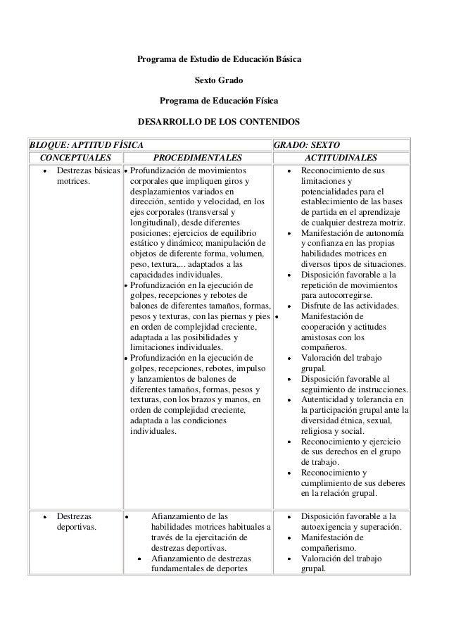 Programa de Estudio de Educación BásicaSexto GradoPrograma de Educación FísicaDESARROLLO DE LOS CONTENIDOSBLOQUE: APTITUD ...