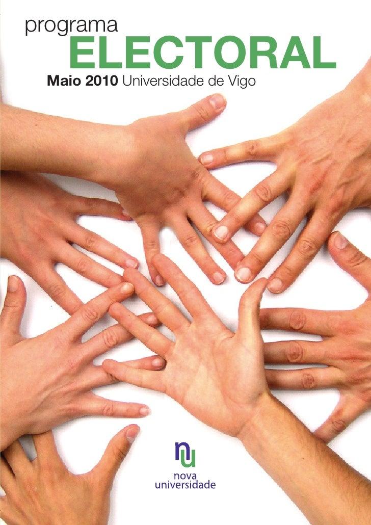 Programa electoral NOVA UNIVERSIDADE 2010