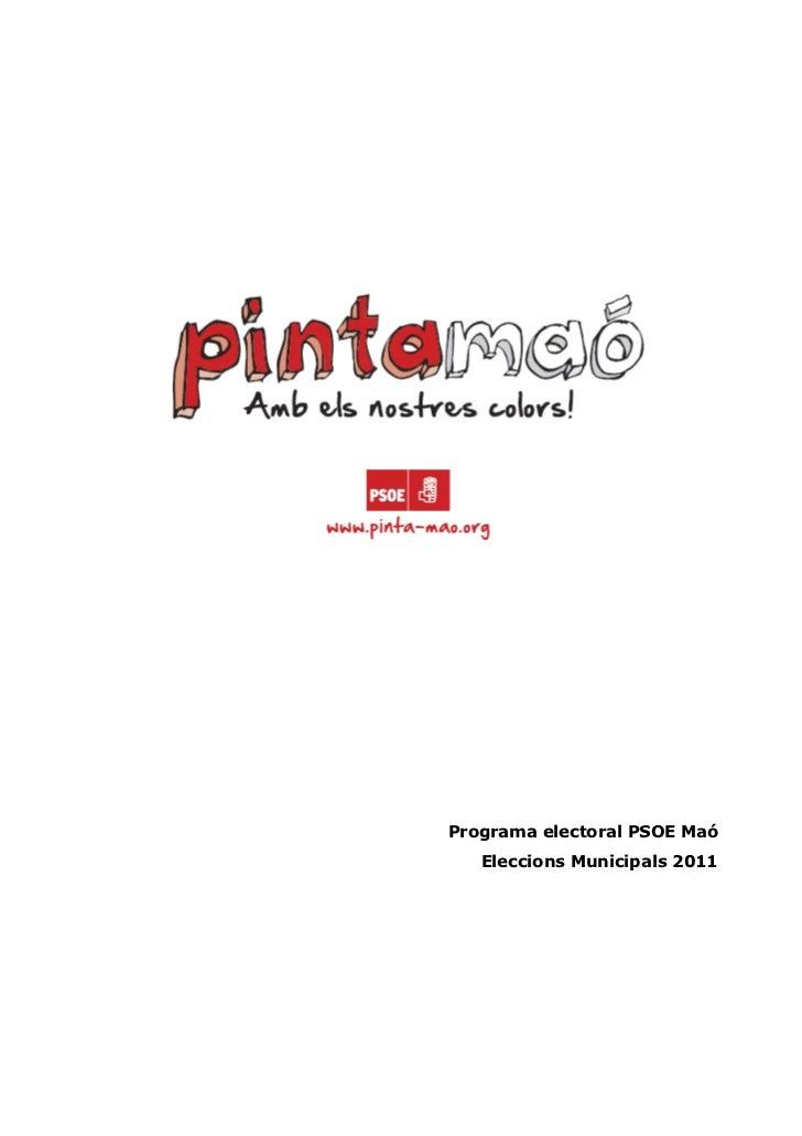Programa electoral PSOE Maó   Eleccions Municipals 2011
