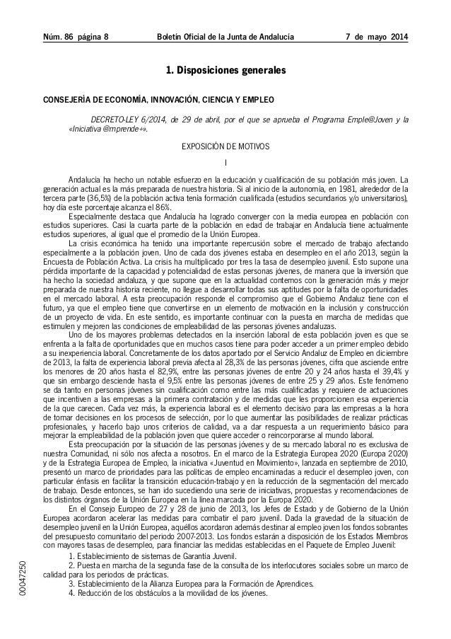 Núm. 86 página  Boletín Oficial de la Junta de Andalucía 7 de mayo 2014 1. Disposiciones generales Consejería de Econo...