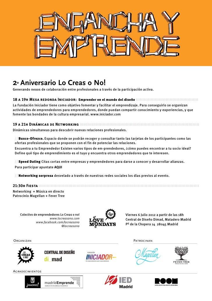 2º Aniversario Lo Creas o No!Generando nexos de colaboración entre profesionales a través de la participación activa.18 a ...