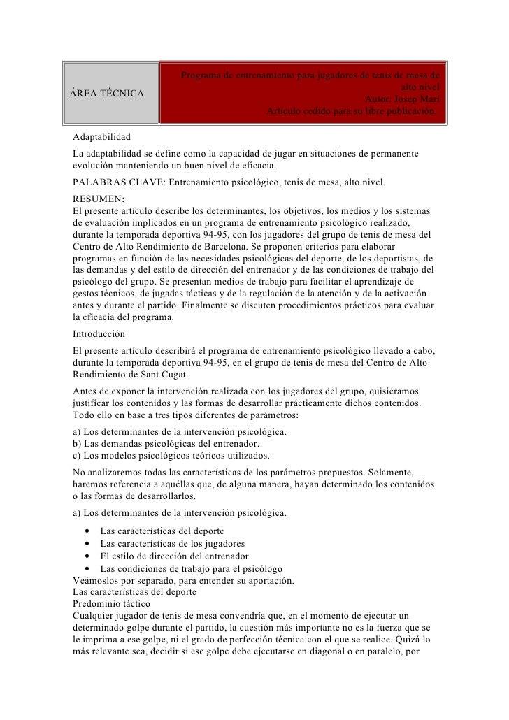 Programa Entrenamiento De Jugadores De Tenis De Mesa Alto Nivel(Etnilumidad-2010)