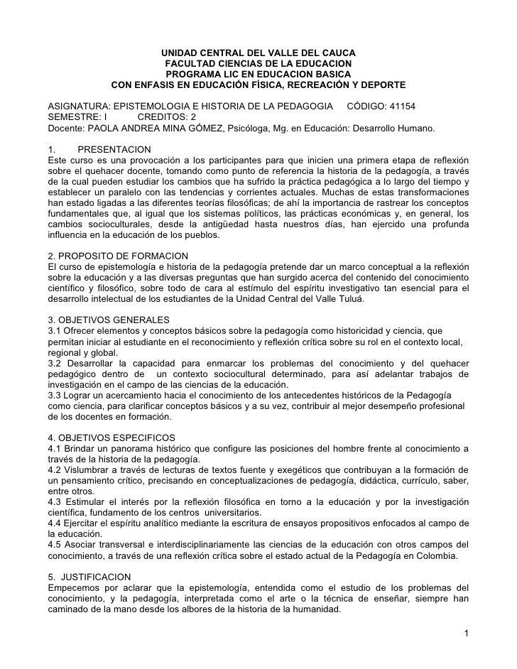 UNIDAD CENTRAL DEL VALLE DEL CAUCA                         FACULTAD CIENCIAS DE LA EDUCACION                         PROGR...