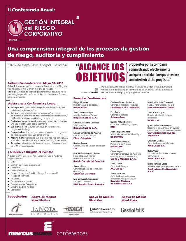 II Conferencia Anual:Una comprensión integral de los procesos de gestiónde riesgo, auditoría y cumplimiento10-12 de mayo, ...