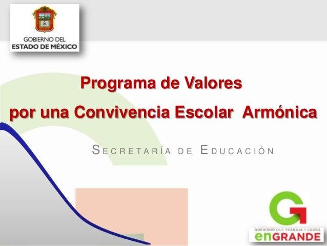 S E C R E T A R Í A D E E D U C A C I Ó N Programa de Valores por una Convivencia Escolar Armónica