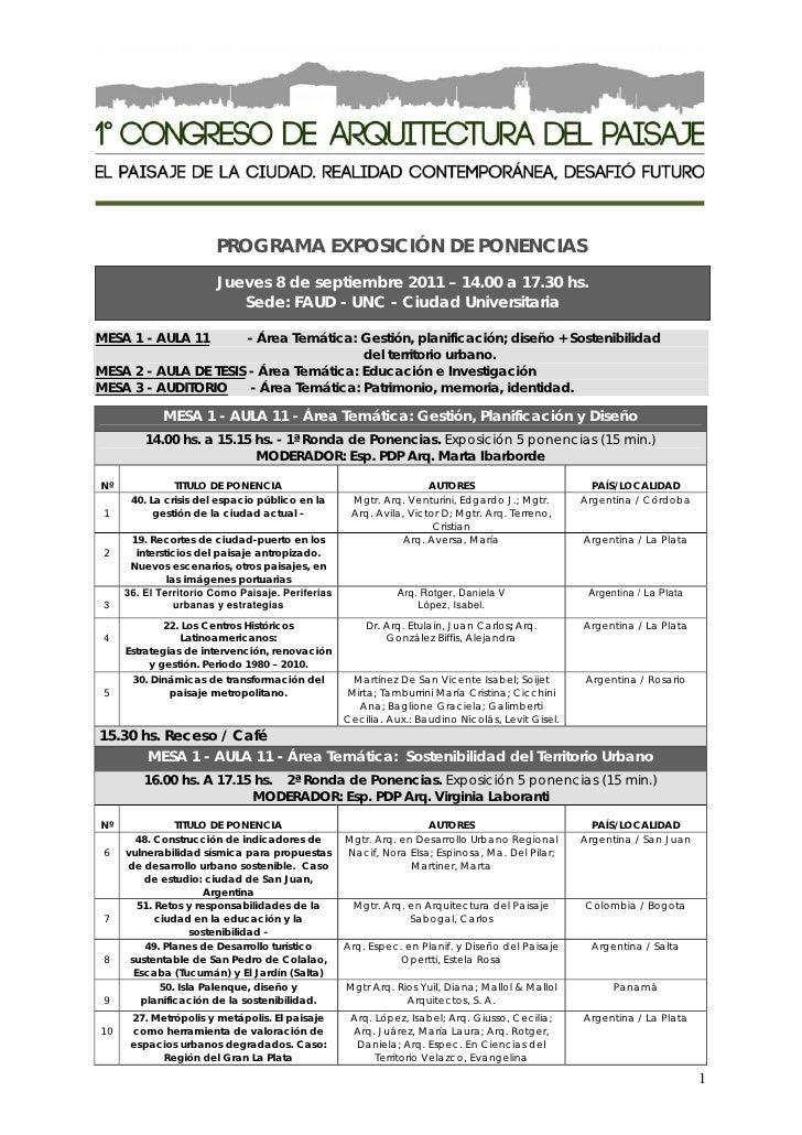 PROGRAMA EXPOSICIÓN DE PONENCIAS                       Jueves 8 de septiembre 2011 – 14.00 a 17.30 hs.                    ...