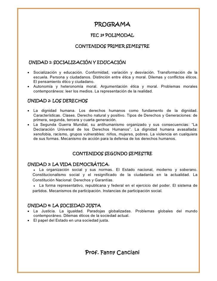 PROGRAMA                                   FEC 2º POLIMODAL                           CONTENIDOS PRIMER SEMESTREUNIDAD 1: ...