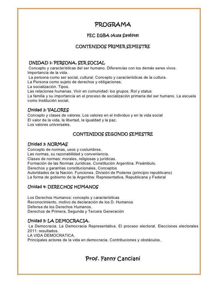 PROGRAMA                                 FEC EGBA (Aula Satélite)                           CONTENIDOS PRIMER SEMESTRE UNI...