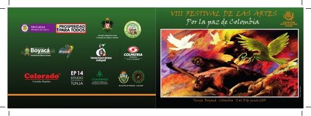 PROGRAMA VIII FESTIVAL DE LA ARTES TUNJA BOYACA 11 A 15 DE JUNIO