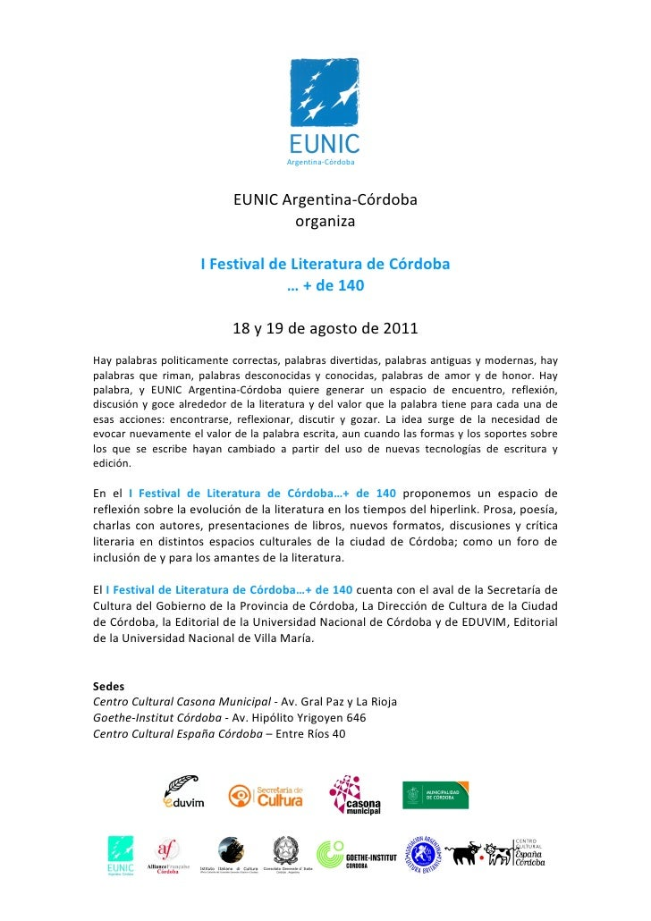 Argentina-Córdoba                            EUNIC Argentina-Córdoba                                    organiza          ...