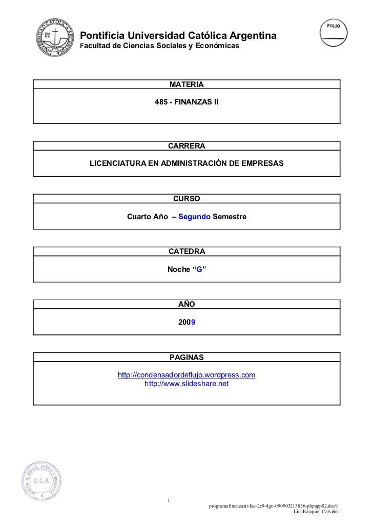 Pontificia Universidad Católica Argentina Facultad de Ciencias Sociales y Económicas                             MATERIA  ...