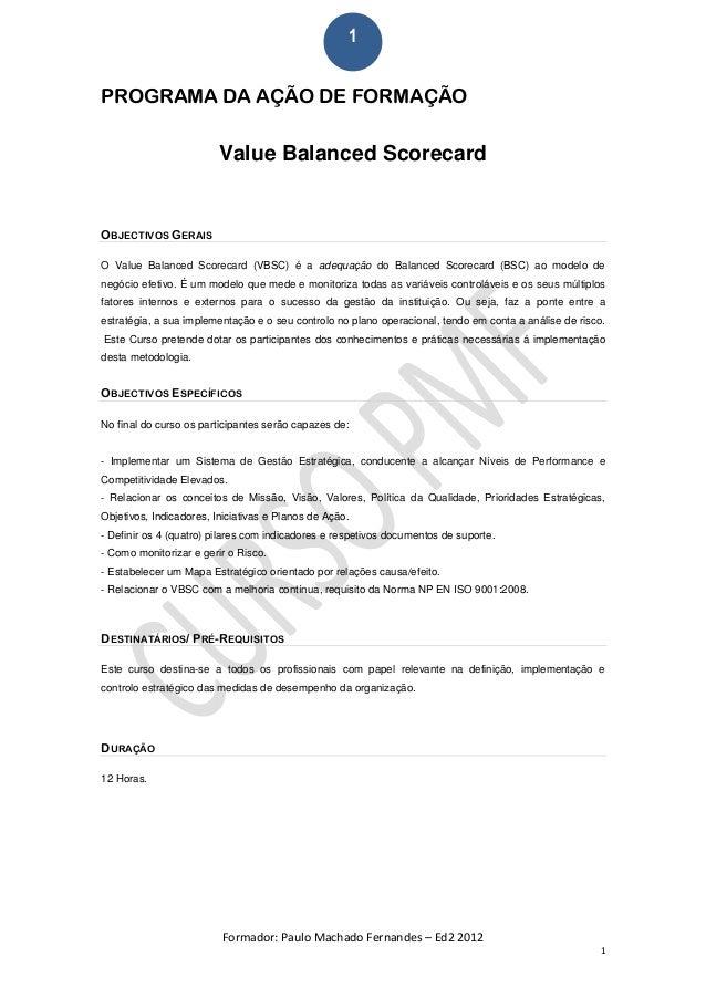 Programa Formação Value Balanced Scorecard